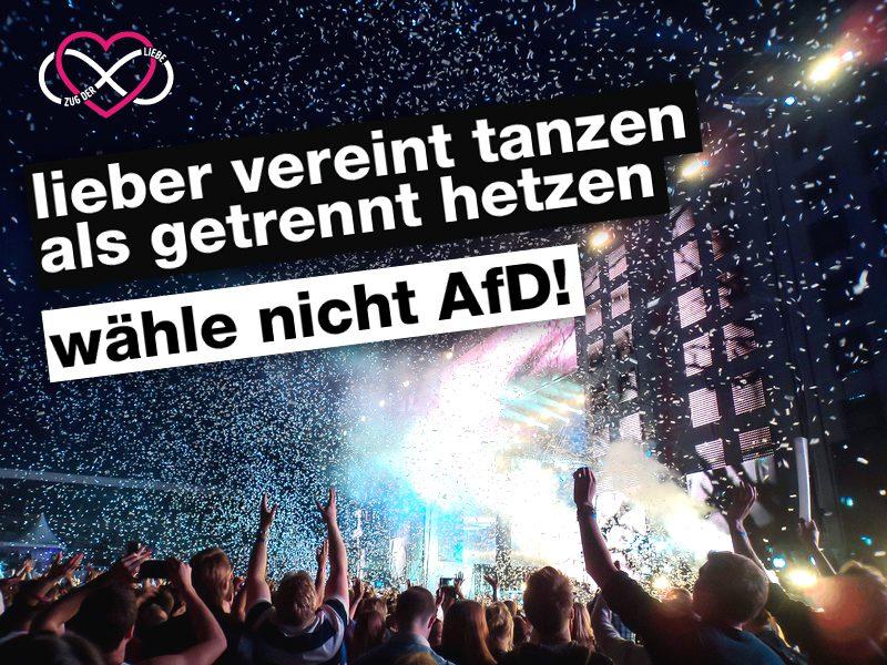 Zug der Liebe startet Anti-AfD-Plakataktion mit Berliner Clubs