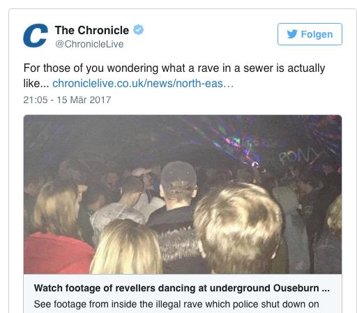 Verrückt, verrückter, UK – Polizei stoppte illegale Party im Abwasserkanal