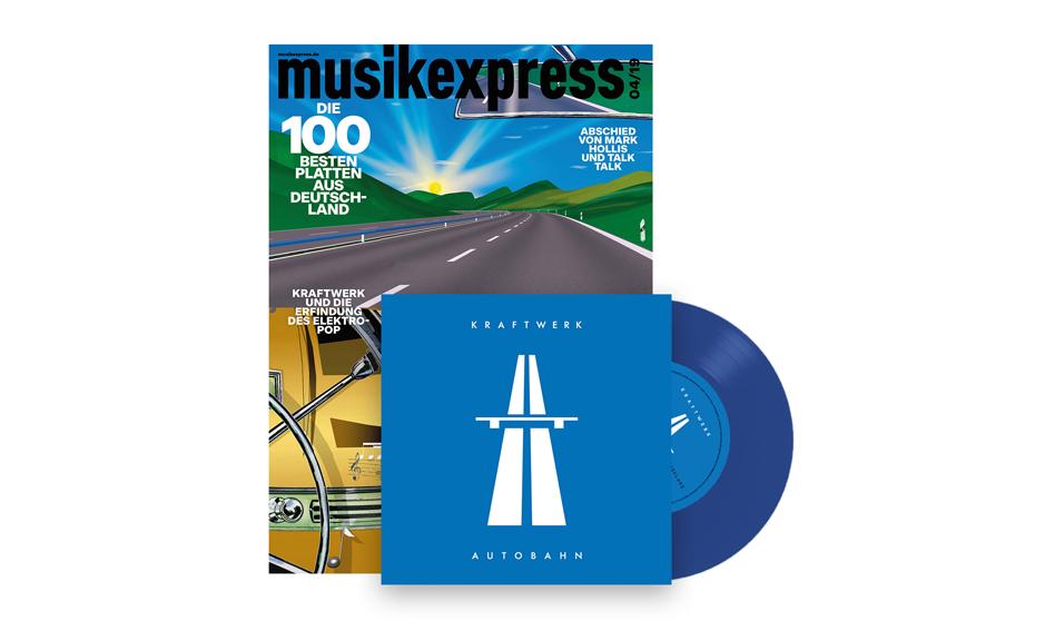 """Kraftwerks """"Autobahn"""" als blau-transparente 7Inch im neuen Musikexpress (win)"""