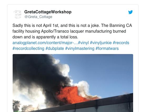 Zulieferbetrieb steht in Flammen –mit unübersehbaren Folgen für die Vinylindustrie